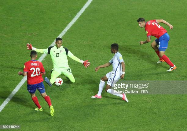 Ademola Lookman of England gets the ball past Costa Rica goalkeeper Erick Pineda to score his second goal during the FIFA U20 World Cup Korea...