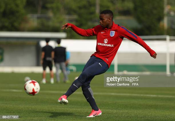 Ademola Lookman of England kicks the ball during an England training session at the Jeonbuk FC Training Field ahead of the FIFA U20 World Cup on May...