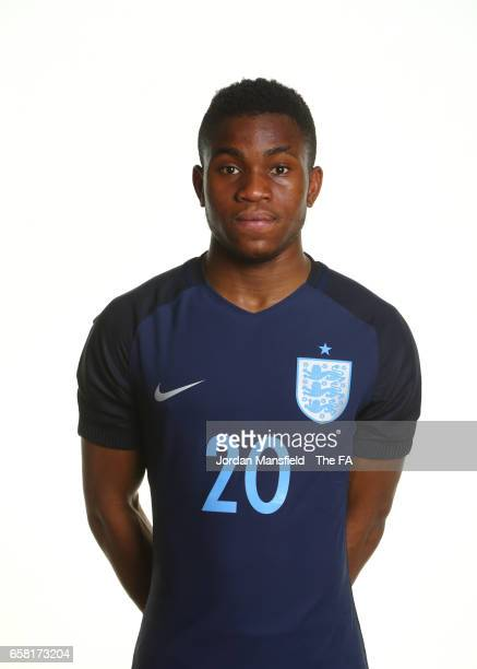 Ademola Lookman of England poses for a portrait during the England U20 Portrait Session on March 26 2017 in St Brieuc France