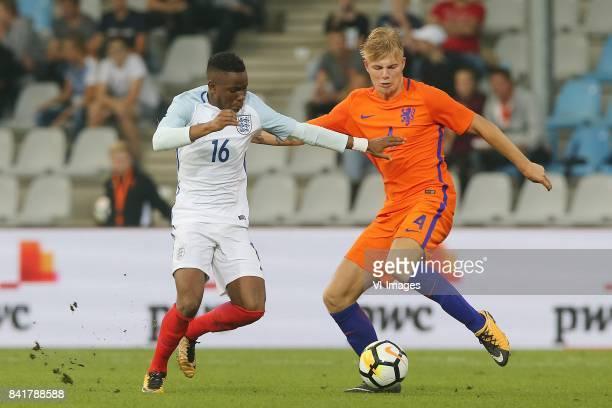 Ademola Lookman of England U21 Rick van Drongelen of Holland U21 during the EURO U21 2017 qualifying match between Netherlands U21 and England U21 at...