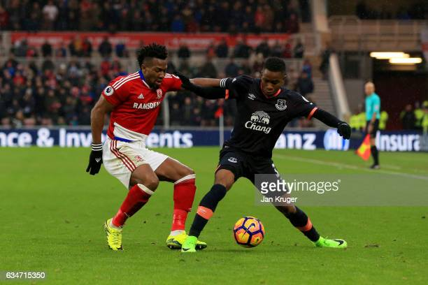 Ademola Lookman of Everton and Adama Traore of Middlesbrough compete for the ball during the Premier League match between Middlesbrough and Everton...