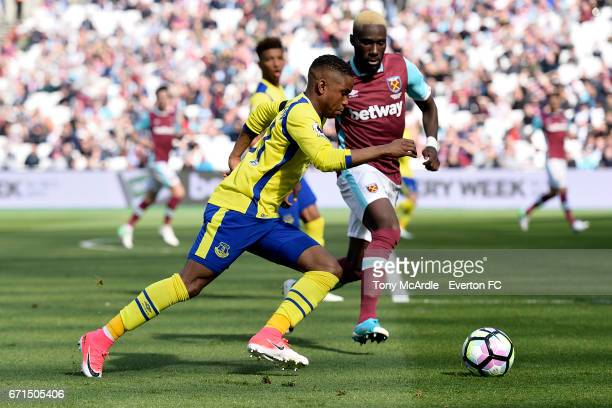 Ademola Lookman of Everton and Arthur Masuaku of West Ham during the Premier League match between West Ham United and Everton at London Stadium on...