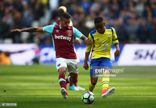 Ademola Lookman of Everton and Manuel Lanzini of West Ham United during the Premier League match between West Ham United and Everton at the London...