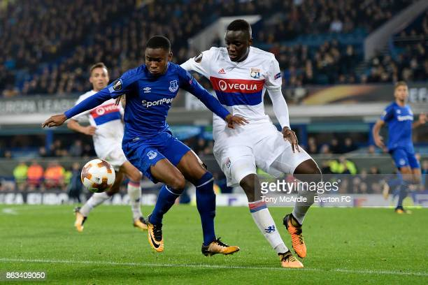 Ademola Lookman of Everton and Mouctar Diakhaby challenge for the ball during the UEFA Europa League group E match between Everton and Olympique Lyon...