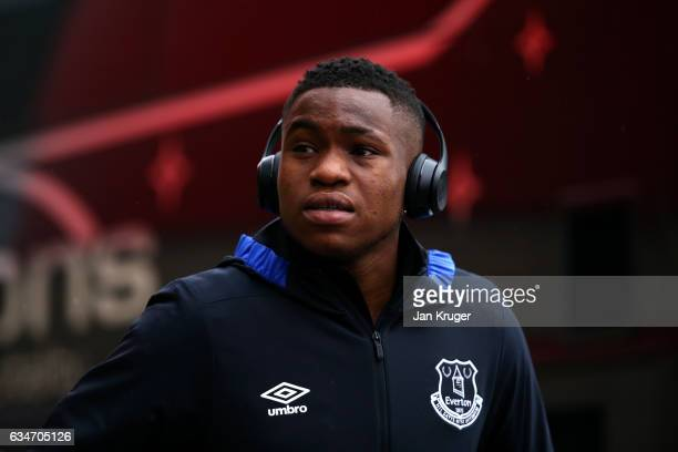 Ademola Lookman of Everton arrives at the stadium prior to the Premier League match between Middlesbrough and Everton at Riverside Stadium on...
