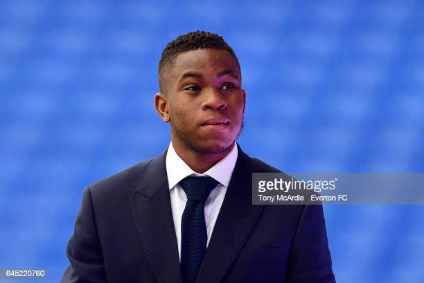 Ademola Lookman of Everton arrives before the Premier League match between Everton and Sunderland at Goodison Park on February 25 2017 in Liverpool...
