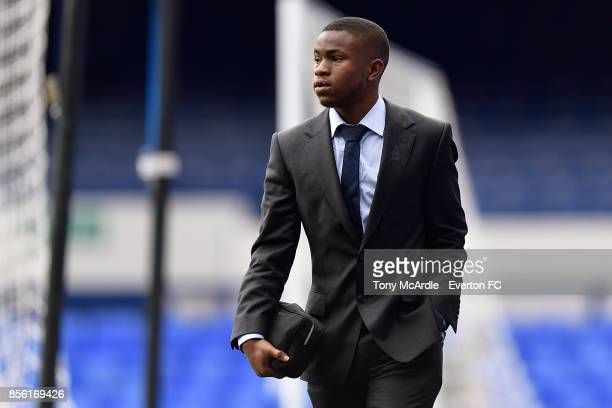 Ademola Lookman of Everton arrives before the Premier League match between Everton and Burnley at Goodison Park on October 1 2017 in Liverpool England