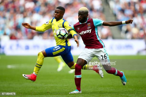 Ademola Lookman of Everton battles for the ball with Arthur Masuaku of West Ham United during the Premier League match between West Ham United and...