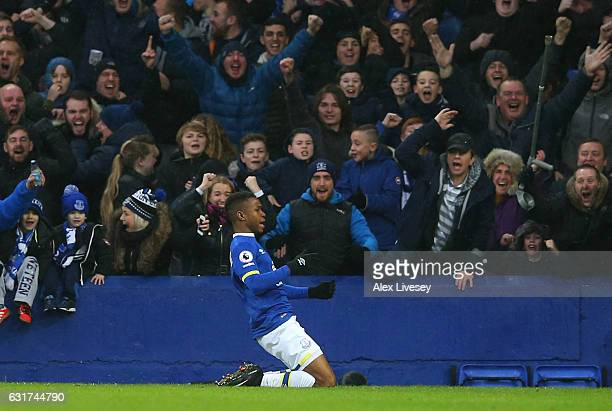 Ademola Lookman of Everton celebrates after scoring his team's fourth goal during the Premier League match between Everton and Manchester City at...