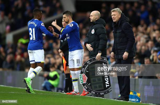Ademola Lookman of Everton comes off for Kevin Mirallas of Everton during the Premier League match between Everton and Sunderland at Goodison Park on...
