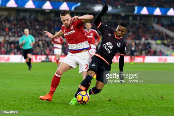 Ademola Lookman of Everton competes during the Premier League match between Middlesbrough and Everton at the Riverside Stadium on February 11 2017 in...