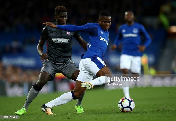 Ademola Lookman of Everton competes with Hamza Barry of Hajduk Split during the UEFA Europa League Qualifying PlayOffs round first leg match between...