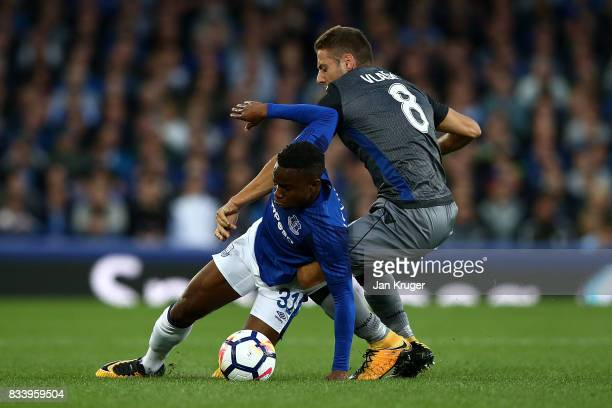 Ademola Lookman of Everton competes with Nikola Vlasic of Hajduk Split during the UEFA Europa League Qualifying PlayOffs round first leg match...