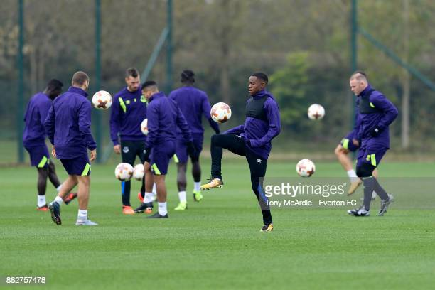 Ademola Lookman of Everton during the Everton training session at USM Finch Farm on October 18 2017 in Halewood England