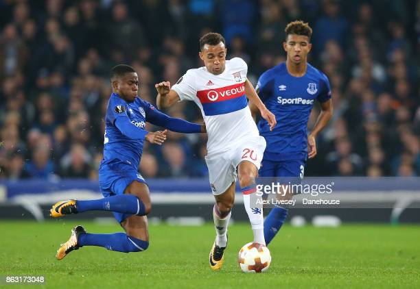 Ademola Lookman of Everton FC fouls Marcal of Olympique Lyon during the UEFA Europa League group E match between Everton FC and Olympique Lyon at...