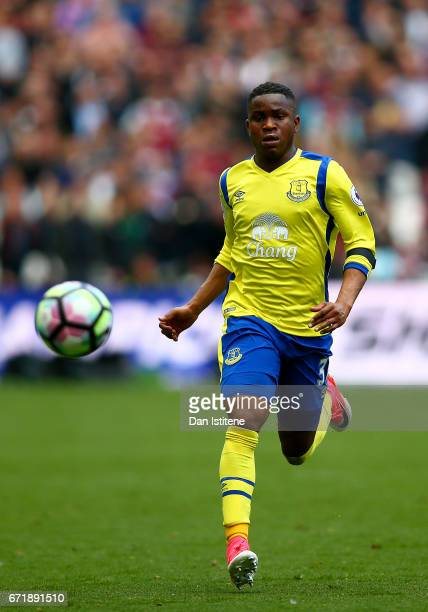 Ademola Lookman of Everton in action during the Premier League match between West Ham United and Everton at London Stadium on April 22 2017 in...