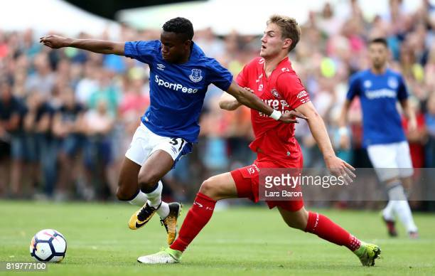 Ademola Lookman of Everton is challenged by Joachim Andersen of Twente during a preseason friendly match between FC Twente and Everton FC at...