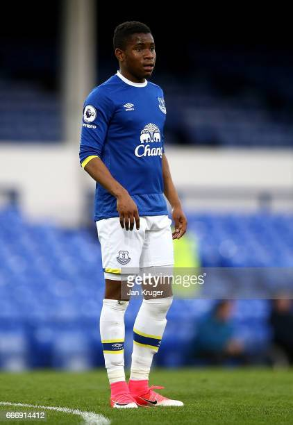 Ademola Lookman of Everton looks on during the Premier League 2 match between Everton and Tottenham Hotspur at Goodison Park on April 10 2017 in...