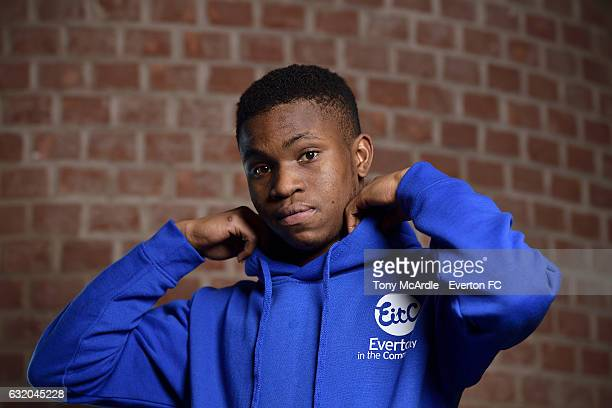 Ademola Lookman of Everton poses for a photo during his visit to the Everton Free School on January 18 2017 in Liverpool England