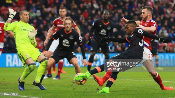 Ademola Lookman of Everton shoots at goal during the Premier League match between Middlesbrough and Everton at Riverside Stadium on February 11 2017...