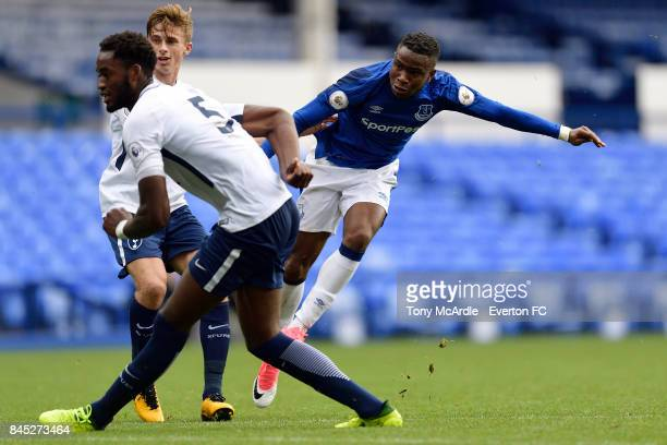 Ademola Lookman of Everton shoots to score during the Premier League 2 match between Everton U23 and Tottenham Hotspur U23 at Goodison Park on...