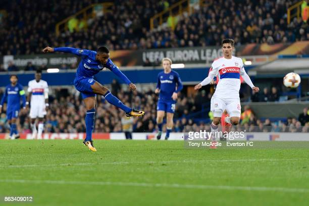 Ademola Lookman of Everton with a shot on goal during the UEFA Europa League group E match between Everton and Olympique Lyon at Goodison Park on...