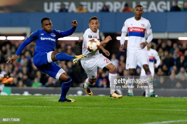 Ademola Lookman of Everton with chance on goal during the UEFA Europa League group E match between Everton and Olympique Lyon at Goodison Park on...
