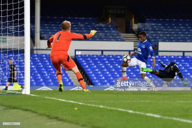 Ademola Lookman scores for Everton during the Premier League 2 match between Everton U23 and Tottenham Hotspur U23 at Goodison Park on April 10 2017...