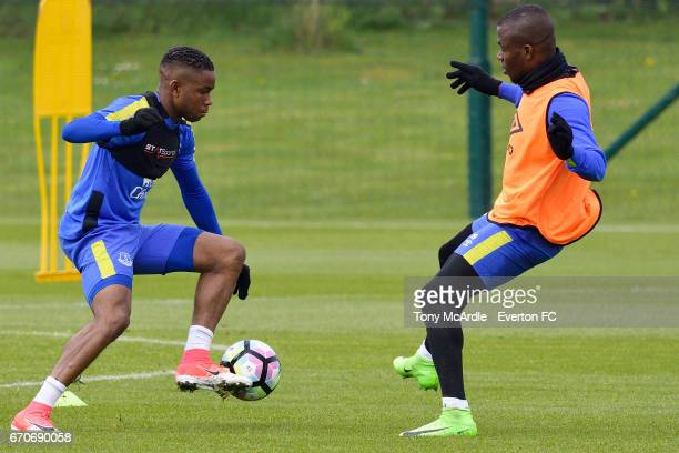 Ademola Lookman takes on Enner Valencia during the Everton training session at USM Finch Farm on April 20 2017 in Halewood England