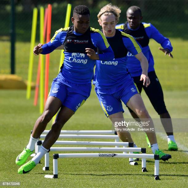 Ademola Lookman Tom Davies and Arouna Kone during the Everton FC training session at USM Finch Farm on May 4 2017 in Halewood England