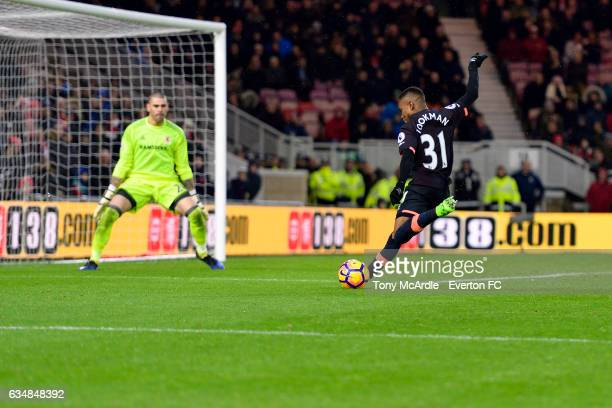 Ademola Lookman with a chance on goal during the Premier League match between Middlesbrough and Everton at the Riverside Stadium on February 11 2017...