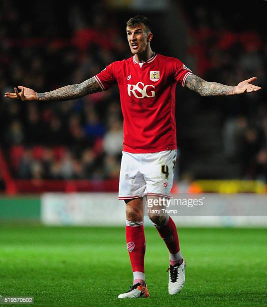 Aden Flint of Bristol City during the Sky Bet Championship match between Bristol City and Rotherham United at Ashton Gate on April 5 2016 in Bristol...