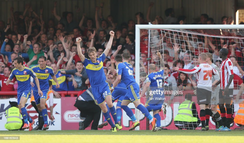 Aden Flint of Swindon Town scores a goal during the npower League One Play Off Semi Final: Second Leg match between Brentford and Swindon Town at Griffin Park on May 6, 2013 in Brentford, England.