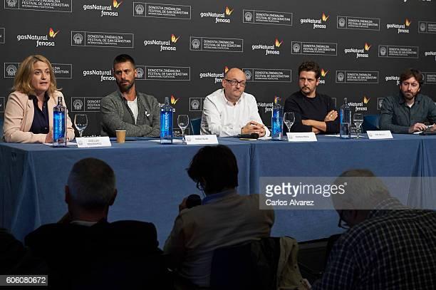 Adenai Perez actor Hugo Silva Jose Luis Rebordinos Kike Maillo and director Daniel Sanchez Arevalo attend Gas Natural Fenosa Cinergia Presentation...