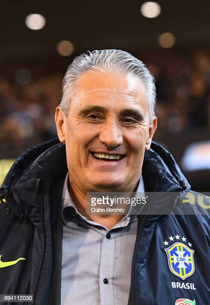 Adenor Leonardo Bacchi the coach of Brazil looks on during the Brazil Global Tour match between Brazil and Argentina at Melbourne Cricket Ground on...
