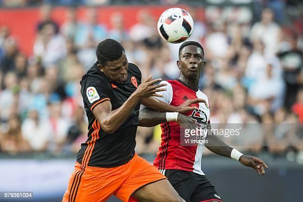 Aderlan Santos of Valencia CF Eljero Elia of Feyenoord during the preseason friendly match between Feyenoord and Valencia on July 23 2016 at the Kuip...
