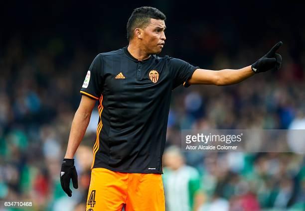 Aderlan Santos of Valencia CF reacts during La Liga match between Real Betis Balompie and Valencia CF at Benito Villamarin Stadium on February 11...