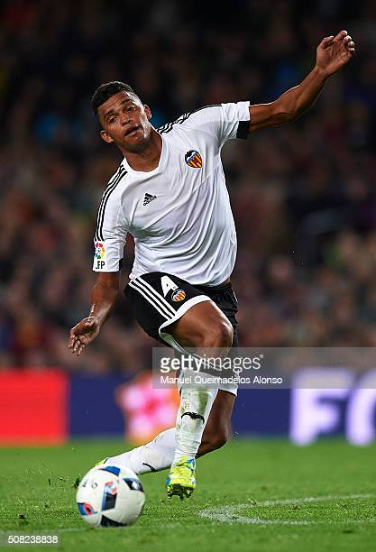 Aderlan Santos of Valencia in action during the Copa del Rey Semi Final first leg match between FC Barcelona and Valencia CF at Nou Camp on February...