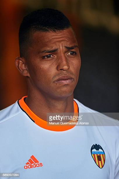 Aderlan Santos of Valencia looks on during the team official presentation ahead of the preseason friendly match between Valencia CF and AC Fiorentina...