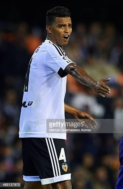 Aderlan Santos of Valencia reacts during the La Liga match between Valencia CF and Malaga CF at Estadi de Mestalla on October 17 2015 in Valencia...