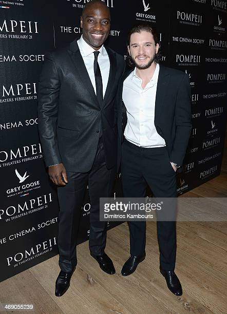Adewale Akinnuoye Agbaje and Kit Harington attend the TriStar Pictures with The Cinema Society Grey Goose screening of 'Pompeii' at Crosby Street...