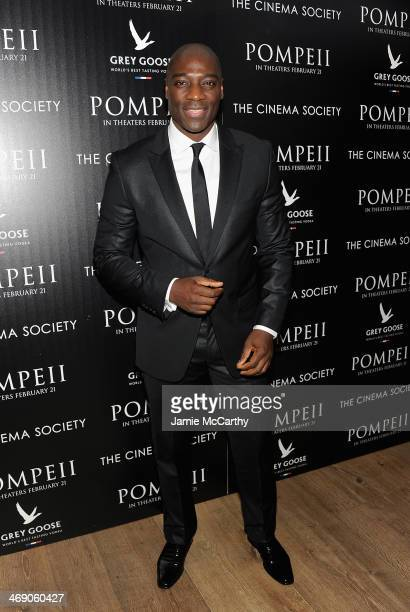 Adewale AkinnuoyeAgbaje attends the 'Pompeii' screening hosted by TriStar Pictures with the Cinema Society and Grey Goose at Crosby Street Hotel on...