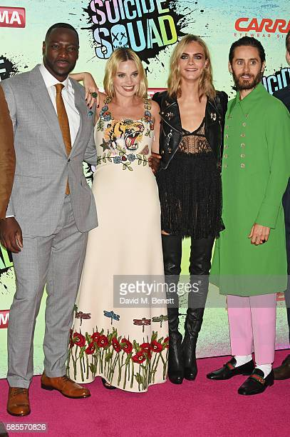 Adewale AkinnuoyeAgbaje Margot Robbie Cara Delevingne and Jared Leto attend the European Premiere of 'Suicide Squad' at Odeon Leicester Square on...