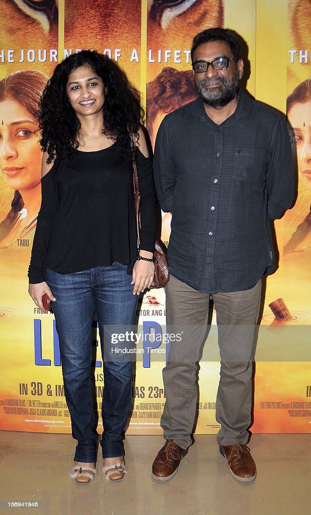 Ad-film director Gauri Shinde with Ad filmmaker and hindi film director R. Balki during the special screening of 'Life of PI' movie at PVR Juhu on November 21, 2012, in Mumbai, India. The film opens on November 13, 2012.
