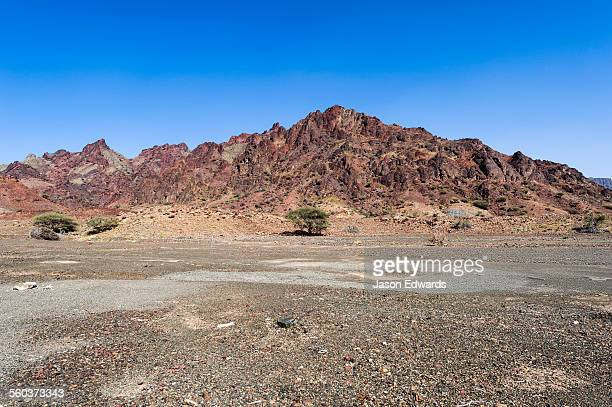 A red volcanic mountain rises from a gravel plain in the desert.