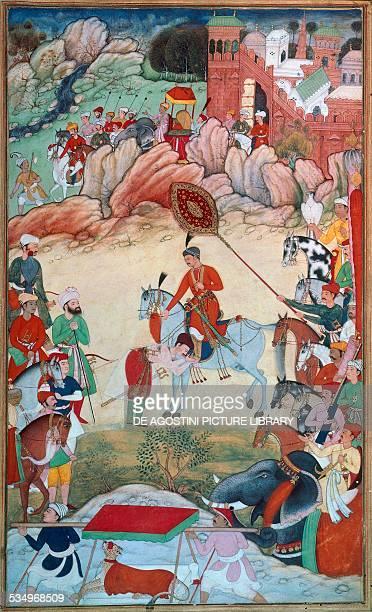 Adham Khan paying homage to he Mughal emperor Akbar at Sarangpur ca 1586ca 1589 miniature from the Akbarnama by Khem Karan 336x201 cm London Victoria...