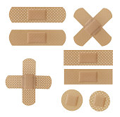 Adhesive Bandages collection isolated on white