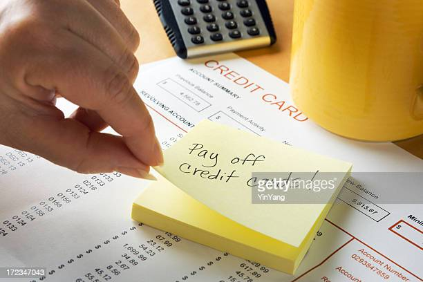 Adhesive Note Reminder for Credit Card Debt Bill Financial Problem