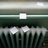 Adhesive notes on radiator