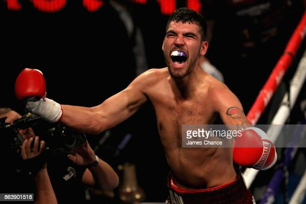 Adi Burden celebrates victory after the Light Heavyweight fight between Adi Burden and Georgi Valevski at The O2 Arena on October 20 2017 in London...